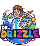 Dr. Drizzle logo female teaching expert in lab coat holding experiment and clipboard cartoon logo